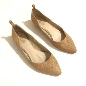 Seychelles Gold Champagne PointedToe Leather Flats